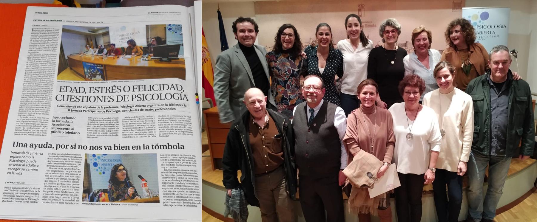 noticia jornadas psicología participativa Toledo 2020 en La Tribuna